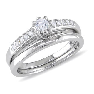 Miadora 14k White Gold 1/4ct TDW Diamond Bridal Ring Set (G-H, I2-I3)