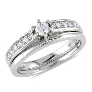 Miadora 10k White Gold 1/4ct TDW Diamond Bridal Ring Set (H-I. I2-I3)