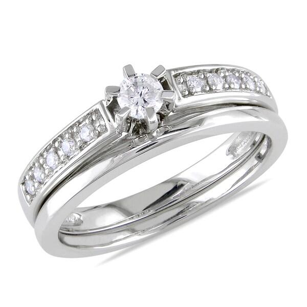 Miadora 10k White Gold 1/4ct TDW Diamond Bridal Ring Set (H-I. I2-I3)