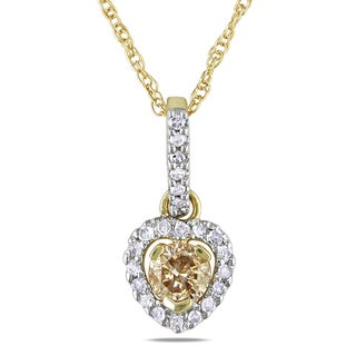 Miadora 10k Yellow Gold 1/3ct TDW Brown and White Diamond Necklace (I2-I3)
