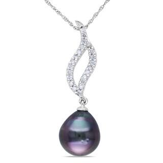 Miadora 10k White Gold Tahitian Black Pearl and 1/6ct TDW Diamond Necklace (H-I, I2-I3)