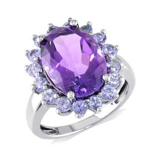 Miadora Sterling Silver Amethyst and Tanzanite Cocktail Ring