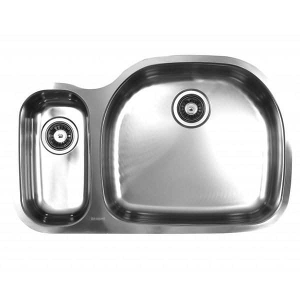 Ukinox D537.70.30.8R 70/30 Double Basin Stainless Steel Undermount Kitchen Sink