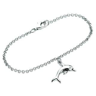 Sterling Silver Cubic Zirconia Dolphin Charm Bracelet