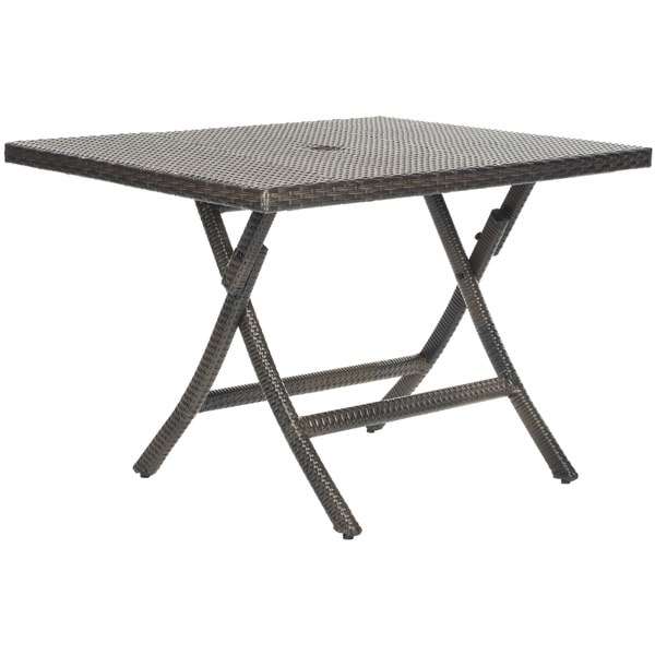 Outdoor Folding Table : Safavieh Outdoor Living Brown PE Wicker Square Folding Table ...
