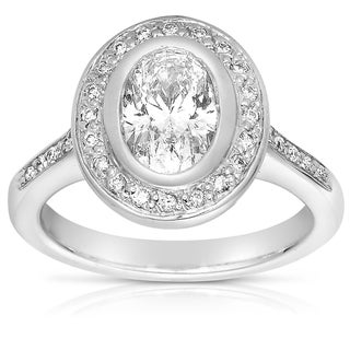 18k White Gold 1 1/2ct Oval Diamond Ring (G-H, VS1-VS2)
