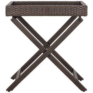 "Safavieh Outdoor Living Brown PE Wicker Folding Tray Side Table - 28"" x 18.1"" x 31.9"""
