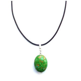 Every Morning Design Green Turquoise Drop Pendant on Leather Cord