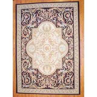 Sino Hand-woven Flat-weave Aubusson Ivory/ Burgundy Wool Rug (10' x 14'2)
