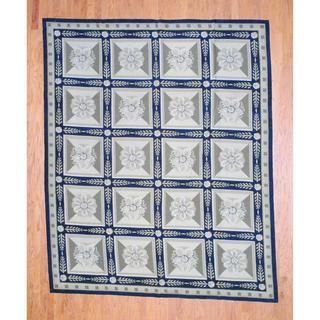 Sino Hand-woven Flat-weave Aubusson Black/ Green Wool Rug (9'7 x 8')