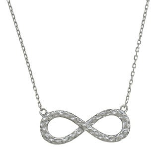 La Preciosa Sterling Silver Hammered Infinity Figure-8 Necklace