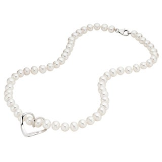 Pearlyta Sterling Silver White FW Pearl Heart Necklace (6-7 mm)
