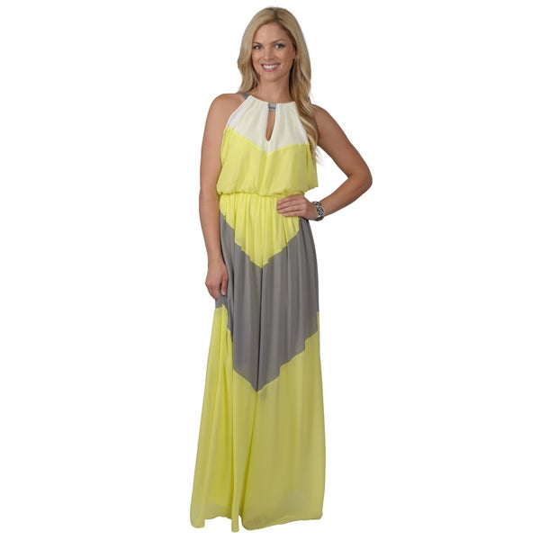 Vince Camuto Women's Keyhole Neckline Colorblock Maxi Dress