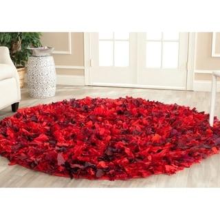 Safavieh Hand-woven Chic Red Shag Rug (6' Round)