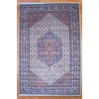 Indo Hand-knotted Bidjar Ivory/ Navy Wool Rug (12'11 x 19'5)