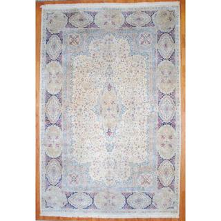 Antique Persian Hand-knotted 1950's Kerman Ivory/ Navy Wool Rug (11'10 x 17'8)