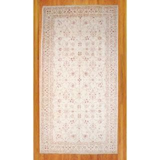 Afghan Hand-knotted Vegetable Dye Ivory/ Red Wool Rug (8'3 x 16')
