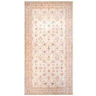Herat Oriental Afghan Hand-knotted Vegetable Dye Ivory/ Red Wool Rug (8'3 x 16')