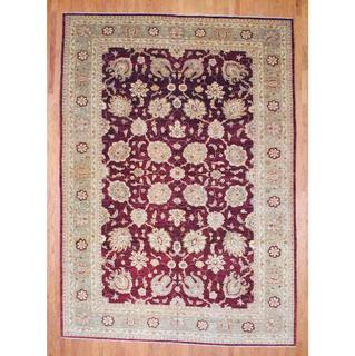 Afghan Hand-knotted Vegetable Dye Red/ Beige Wool Rug (10'5 x 14'7)
