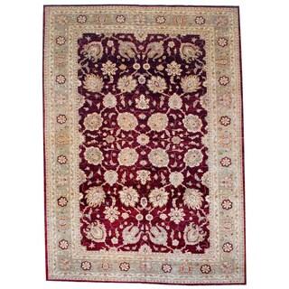 Afghan Hand-knotted Vegetable Dye Red/ Beige Wool Rug (10'5 x 14'7)