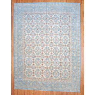 Afghan Hand-knotted Vegetable Dye Light Blue/ Ivory Wool Rug (12' x 15'9)