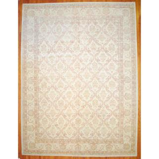 Afghan Hand-knotted Vegetable Dye Ivory/ Rust Wool Rug (13'1 x 17'6)