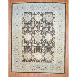 "Afghan Hand-Knotted Vegetable Dye Brown/Light Blue Wool Area Rug (11'9"" x 15'2"")"