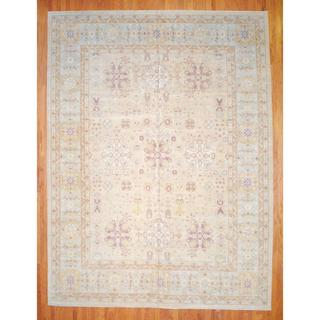 Afghan Hand-knotted Vegetable Dye Beige/ Ivory Wool Rug (12'2 x 16'1)