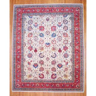 "Afghan Hand-Knotted Vegetable Dye Ivory/Red Wool area Rug (12' x 14'8"")"