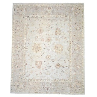 "Afghan Hand-Knotted Vegetable-Dyed Ivory/Beige Wool Area Rug (12' x 14'6"")"