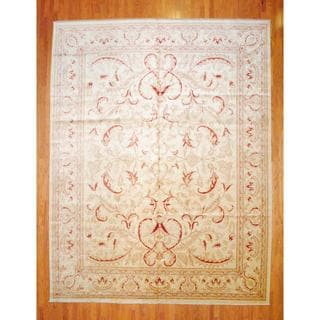 Afghan Hand-knotted Vegetable Dye Ivory/ Red Wool Rug (11'6 x 14'8)