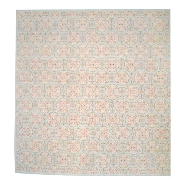 Herat Oriental Afghan Hand-knotted Vegetable Dye Light Green/ Salmon Wool Rug (14'10 x 15'7)