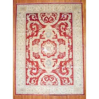 Afghan Hand-knotted Vegetable Dye Red/ Ivory Wool Rug (11'7 x 15'9)