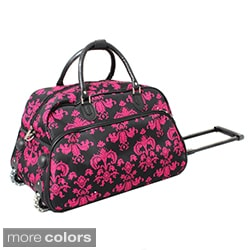 World Traveler Designer Prints Damask 21-inch Carry-on Rolling Upright Duffel Bag