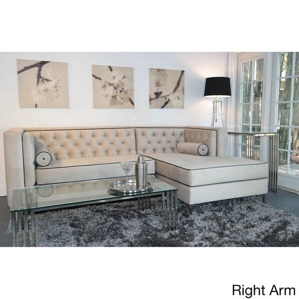 Decenni Custom Furniture 'Tobias' Dove Grey Tufted 8-foot Sectional Sofa
