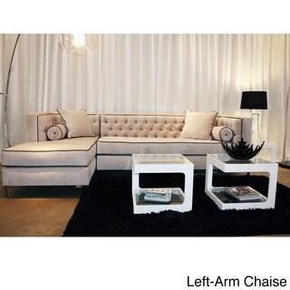 Decenni Custom Furniture 39 Tobias 39 Dove Grey Tufted 8 Foot Sectional Sofa Overstock Shopping