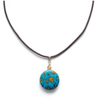 Round Turquoise Drop on Leather Cord
