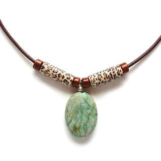 Every Morning Design Chrysocolla and Leopard Bead Necklace