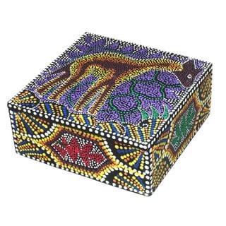 6-inch Dot Giraffe Design Decorative Aboriginal Box (Indonesia)