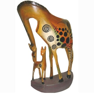 Hand-Carved 'Giraffe with Baby' Okoyo Statue (Kenya)