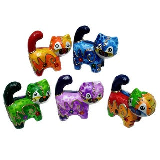 Handmade Multicolor 5-piece Cat Figurine Set (Indonesia)