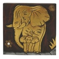 Hand-Carved 'Elephant with Baby' Wall Panel (Indonesia)