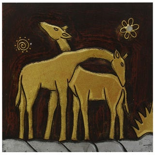 Hand-Carved 'Giraffe Pair' Wall Panel (Indonesia)
