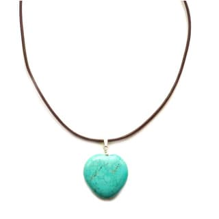 Every Morning Design Turquoise Heart On Brown Leather Necklace