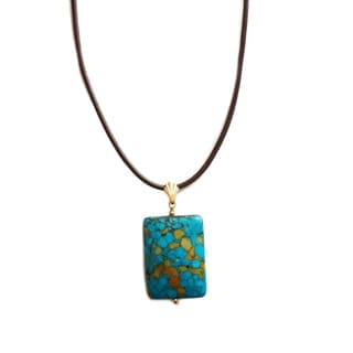 Every Morning Design Blue Turquoise Rectangle on Leather Necklace