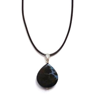 Every Morning Design Blue Jasper Drop on Leather Necklace