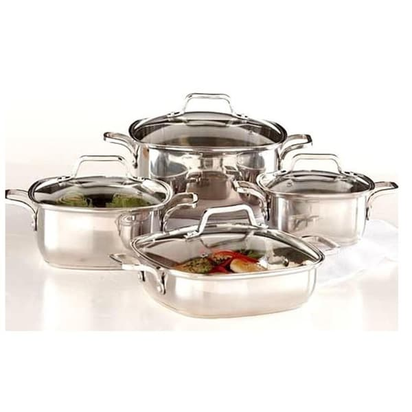 8-piece 18/10 Heavy Duty Stainless Steel Unique Square Cookware Set