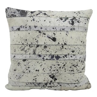 Mina Victory Natural Leather Hide Acid Wash Silver 20 x 20-inch Pillow
