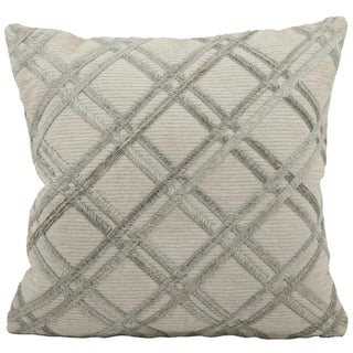 Mina Victory Natural Leather Hide Double Diagonal Silver Grey 20 x 20-inch Pillow