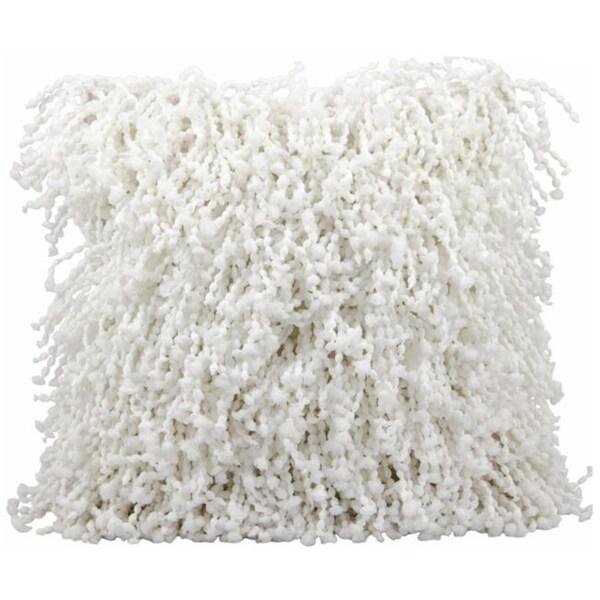 Mina Victory White Shag 20 x 20-inch Decorative Pillow